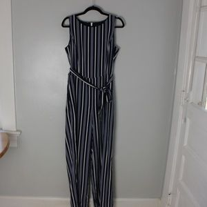 Blue and white jumpsuit